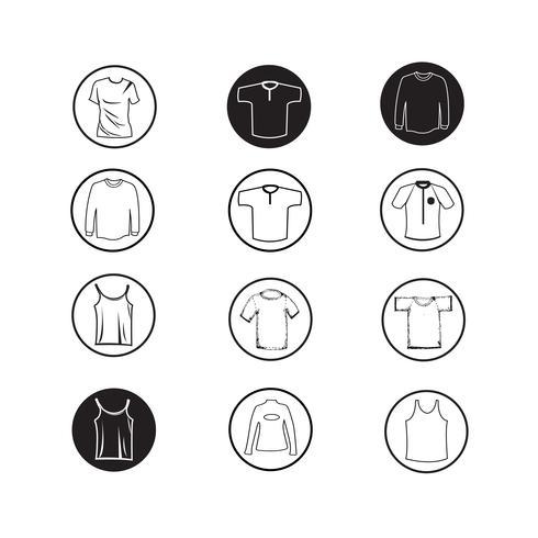 Satz Kleiderhemd und T-Shirt Ikone Kleidungsikonen vektor