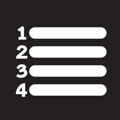 Nummernliste Symbol Zeichen vektor
