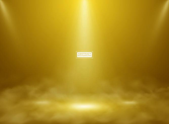 Abstrakt guld färg studio mockup bakgrund. Dekorera för att visa produkt, affisch, presentationsexempel med rök. vektor
