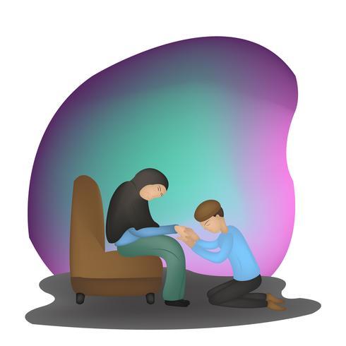 islamische Muttertag Charakter Abbildung vektor