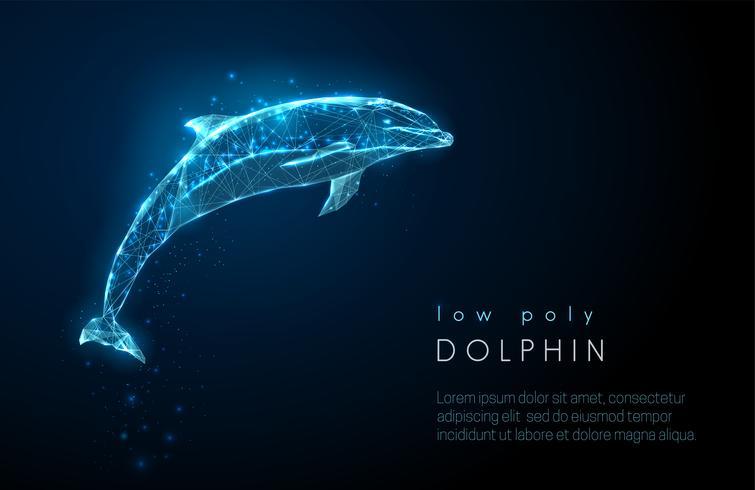 Abstrakter springender Delphin. Low-Poly-Style-Design. vektor