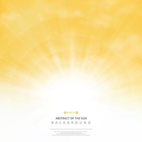 Abstrakte goldene Sonne mit Wolken auf weichem Goldhimmelhintergrund. Sie können für Post-Text, Textfreiraum, Anzeige, Poster, Cover-Design, Grafik, Natur drucken. vektor