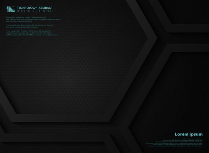 Abstrakter schwarzer metallischer Technologiehexagonhintergrund-Kopienraum für Darstellung. Abbildung Vektor eps10