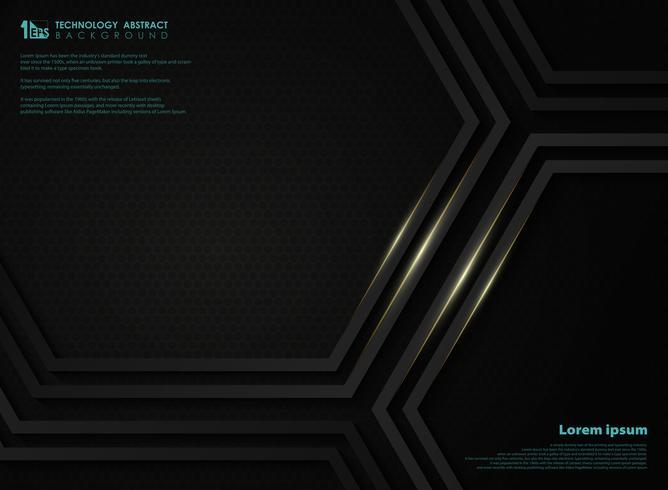 Sammanfattning svart metallisk teknologi hexagon bakgrund med gyllene linje för presentation. illustration vektor eps10