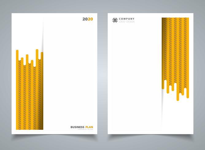 Abstrakte moderne gelbe Streifenlinie Muster des Schablonenbroschürenhintergrundes. Sie können für Geschäftsbroschüre, Anzeige, Plakat, Darstellung, Buch, Jahresbericht, Gestaltungsarbeit verwenden. vektor