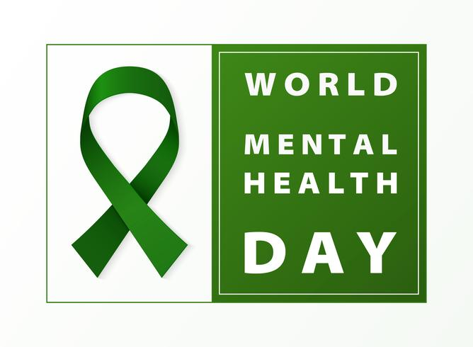 Världs mental hälsodag grönt band kort bakgrund. Du kan använda för världens hälsodag den 7 april, annons, affisch, kampanjkonst. vektor