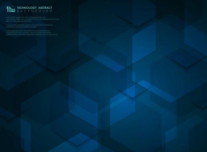 Blå högteknologiska futuristiska hexagonmönster bakgrund. illustration vektor eps10