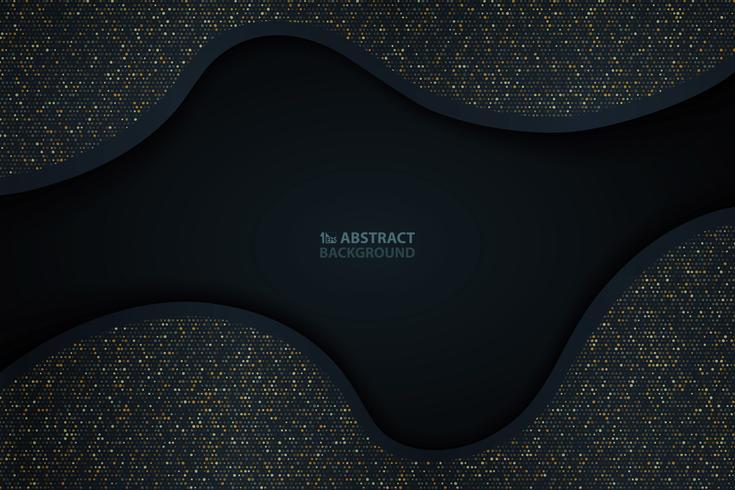 Abstrakt mörkblå pappersskärning med guldglittermönster bakgrund. Du kan använda för abstraktion närvarande, konstverk, annons, affisch, omslagsdesign. vektor