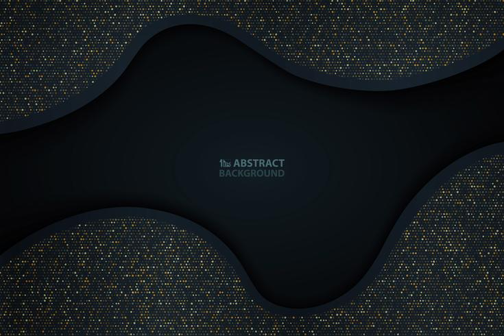 Abstraktes dunkelblaues Papier schnitt mit Goldfunkelnmusterhintergrund. Sie können für Abstraktionsgeschenk, Grafik, Anzeige, Plakat, Abdeckungsdesign verwenden. vektor