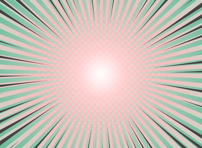 Abstrakt solstrålning bakgrund tappning av halvtons mönster design. Grön och levande korallfärger med höjdpunkten i tecknad stripe. vektor eps10
