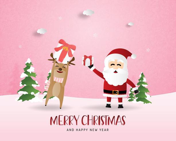 God jul och gott nytt år hälsningskort i pappersskuren stil. Vektor illustration Julfest bakgrund med lycklig ren och Santa. Banner, flyer, affisch, tapet, mall.