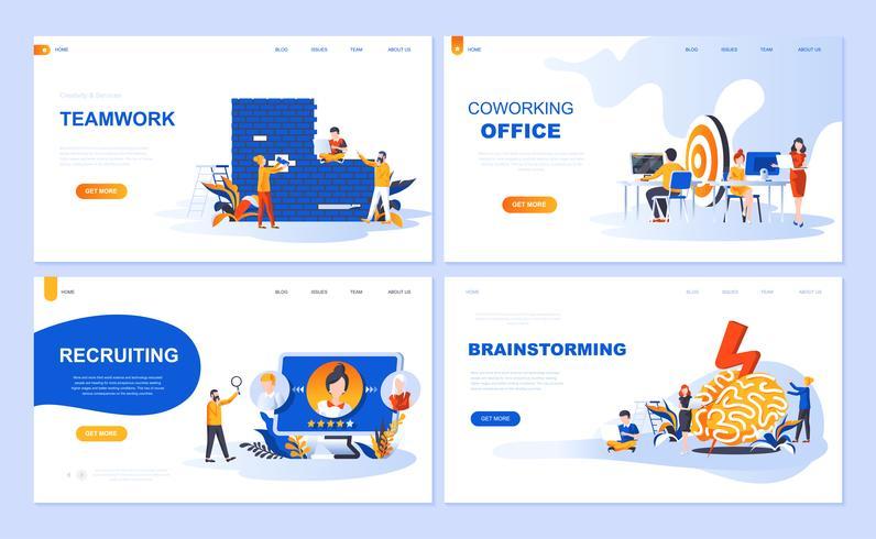 Satz der Landingpage-Vorlage für Teamwork, Rekrutierung, Brainstorming, Coworking Office. Flache Konzepte der modernen Vektorillustration verzierten Leutecharakter für Website und bewegliche Websiteentwicklung. vektor