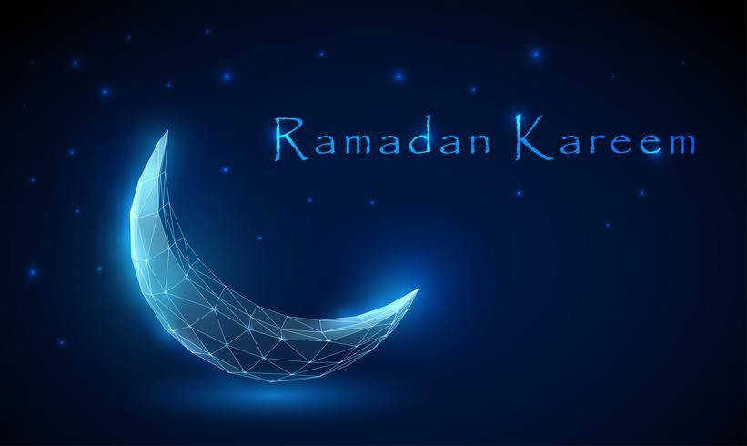 Niedriger abstrakter Polyhalbmond. Ramadan Kareem Hintergrund vektor