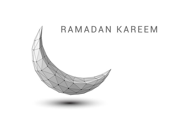 Abstrakter Halbmond. Ramadan Kareem Hintergrund. Low-Poly-Stil vektor