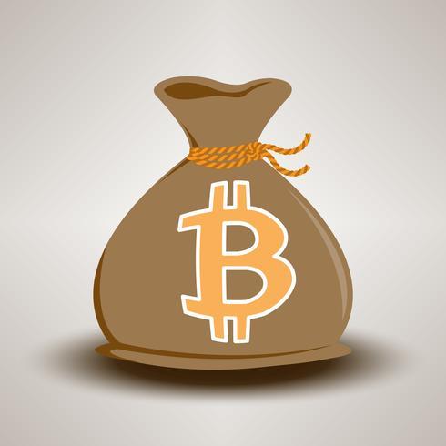 Mörkbrun Bitcoin Pengarväska vektor