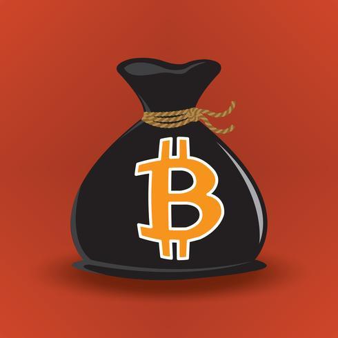 Svart Bitcoin Pengarväska vektor