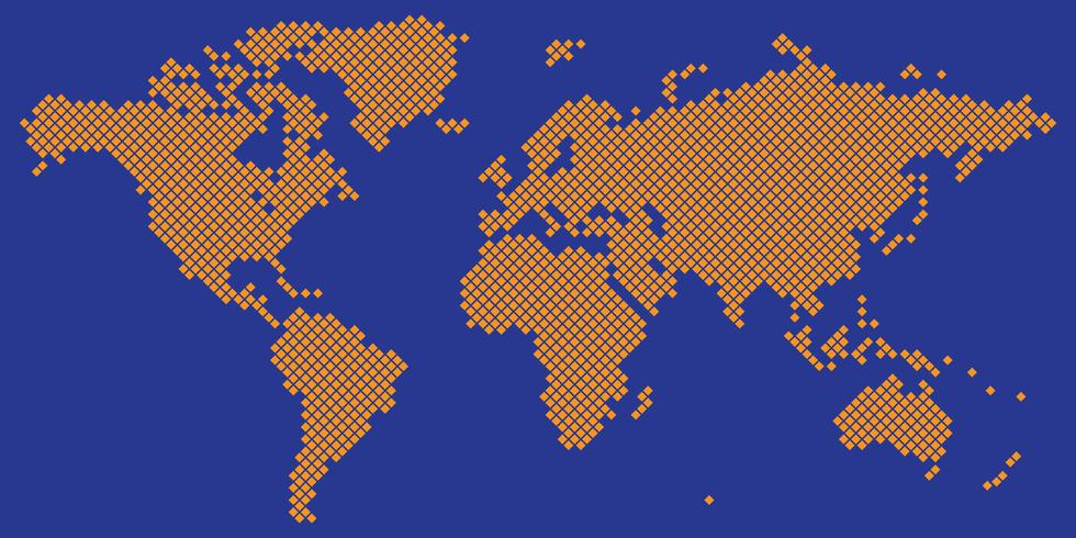Große Tetragonweltkarten-Vektororange auf Blau vektor