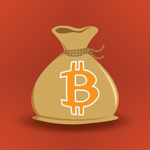 Brun Bitcoin Pengarväska vektor