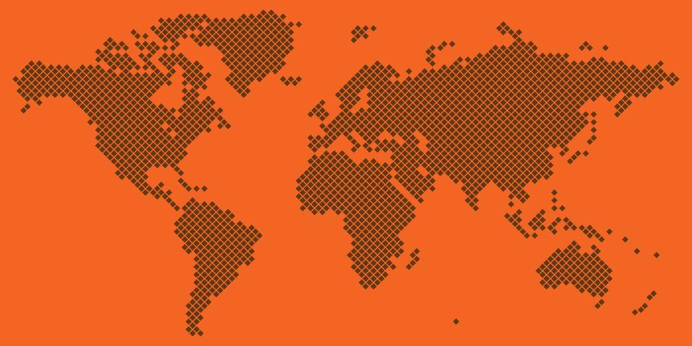 Großes Tetragonweltkarten-Vektorbraun auf Orange vektor