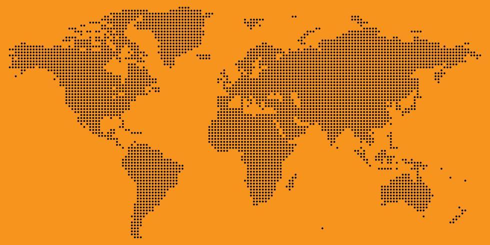 Schwarzes auf Orange punktiertem Weltkartevektor vektor