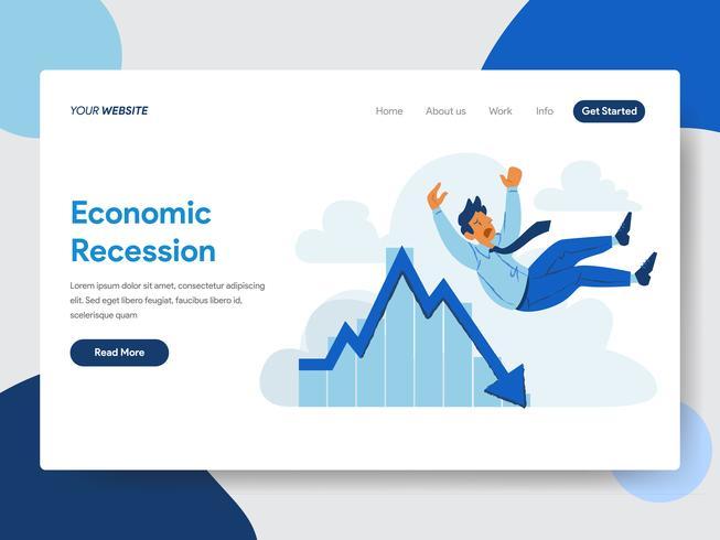 Målsida mall av Affärsman med Ekonomisk Recession Illustration Concept. Modernt plattdesignkoncept av webbdesign för webbplats och mobilwebbplats. Vektorns illustration vektor