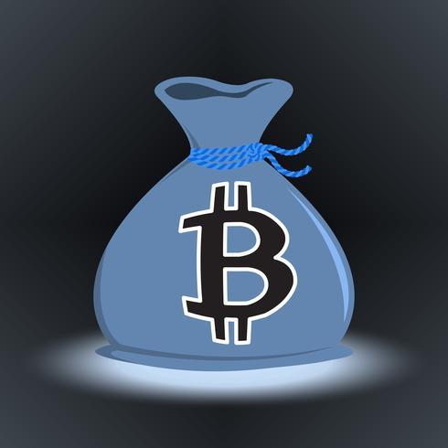 mörk bitcoin pengar väska vektor