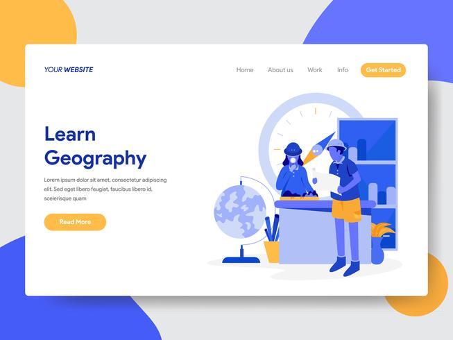 Målsida mall av Lär dig Geografi Illustration Concept. Modernt plattdesignkoncept av webbdesign för webbplats och mobilwebbplats. Vektorns illustration vektor