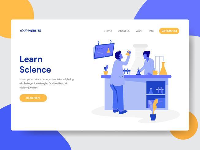 Målsida mall för Lärande Science Illustration Concept. Modernt plattdesignkoncept av webbdesign för webbplats och mobilwebbplats. Vektorns illustration vektor