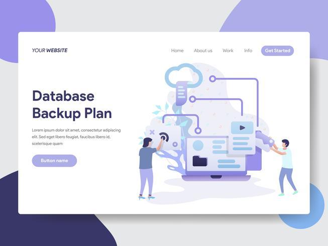 Målsida mall för Databas Backup Plan Illustration Concept. Modernt plattdesignkoncept av webbdesign för webbplats och mobilwebbplats. Vektorns illustration vektor