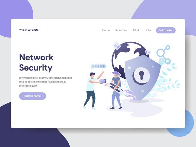 Målsida mall för Network Security Illustration Concept. Modernt plattdesignkoncept av webbdesign för webbplats och mobilwebbplats. Vektorns illustration vektor