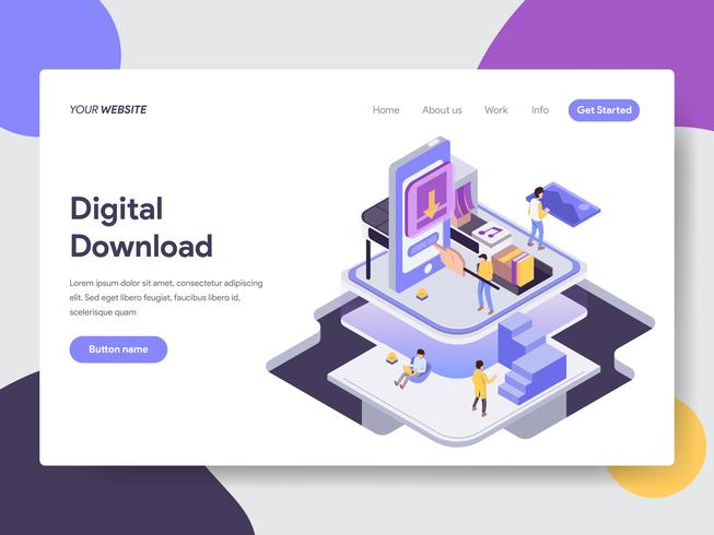 Målsida mall för Digital Download Illustration Concept. Isometrisk plattformkoncept för webbdesign för webbplats och mobilwebbplats. Vektorns illustration vektor