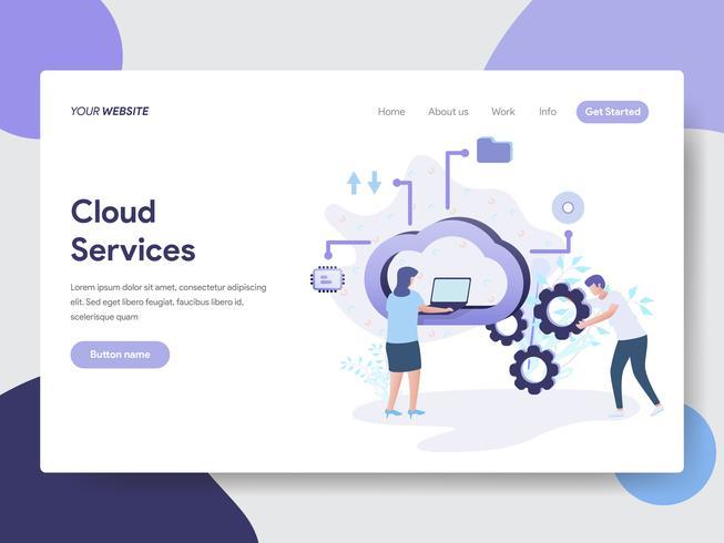 Zielseitenschablone des Wolken-Service-Illustrations-Konzeptes. Modernes flaches Konzept des Entwurfes des Webseitendesigns für Website und bewegliche Website Auch im corel abgehobenen Betrag vektor