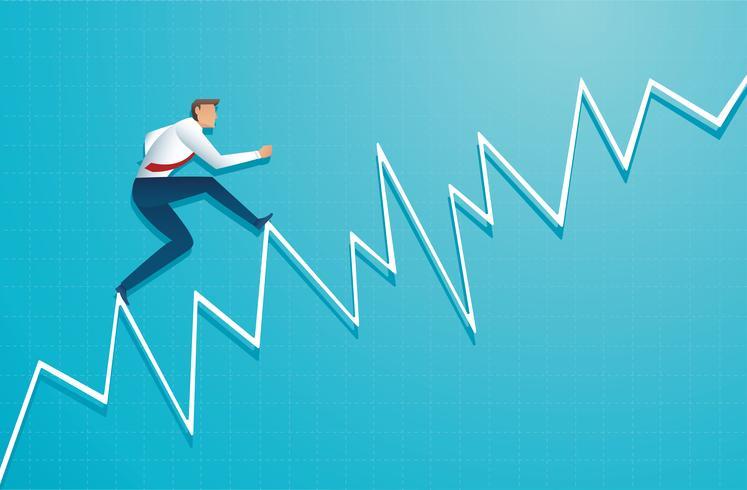 affärsman kör på diagram, arbetstagaren går upp till toppen av pilen, Framgång, uppnåelse, motivation affärssymbol vektorillustration vektor