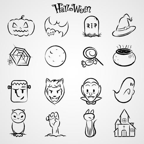 halloween svarta ikoner uppsättning vektor