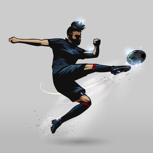 fotbollsspelare volley en boll vektor