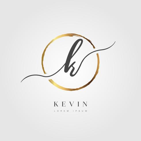 Guld Elegant Initial Letter Type K vektor