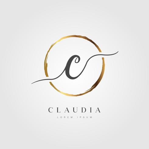 Guld Elegant Initial Letter Type C vektor