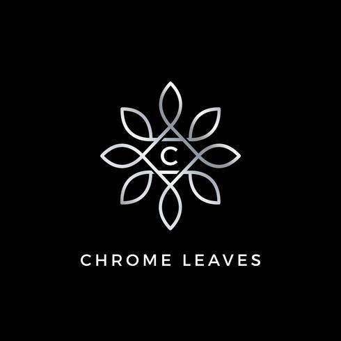 Silver blommigt vektorblad Initial Letter Type C Logo Design Mall vektor