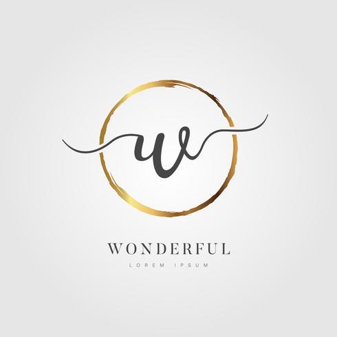 Guld Elegant Initial Letter Type W vektor