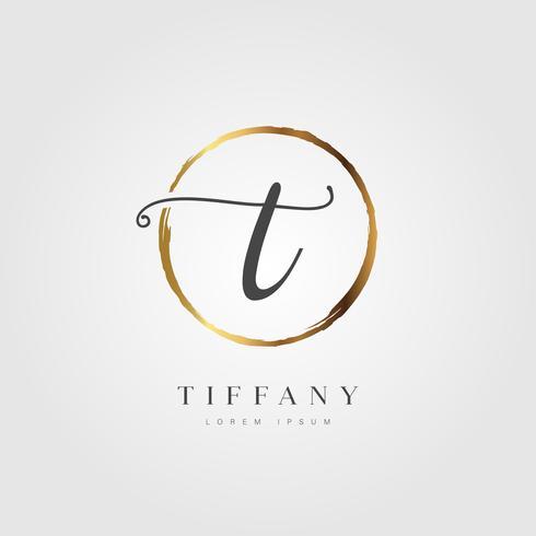 Guld Elegant Initial Letter Type T vektor