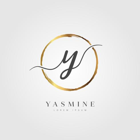 Guld Elegant Initial Letter Type Y vektor