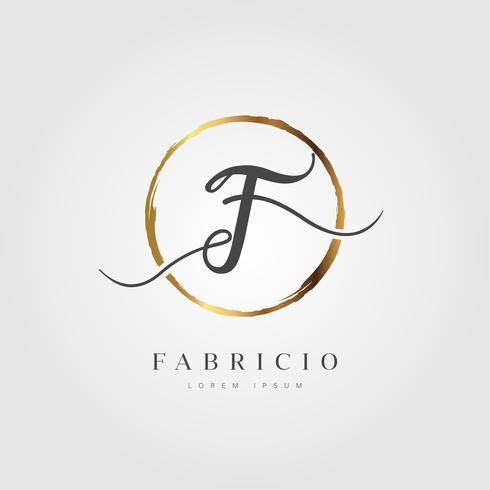 Guld Elegant Initial Letter Type F vektor