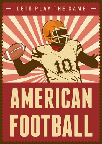 Amerikansk fotboll Rugby Sport Retro Pop Art Poster Signage vektor