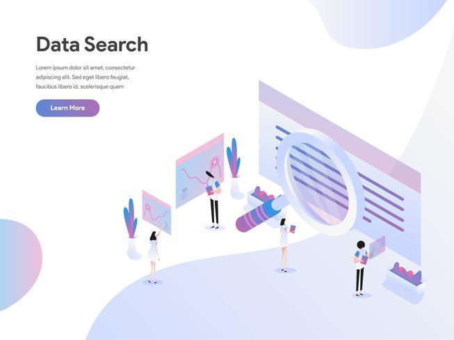 Zielseitenschablone des Daten-Suchisometrischen Illustrations-Konzeptes. Flaches Konzept des Entwurfes des Webseitenentwurfs für Website und bewegliche Website Auch im corel abgehobenen Betrag vektor