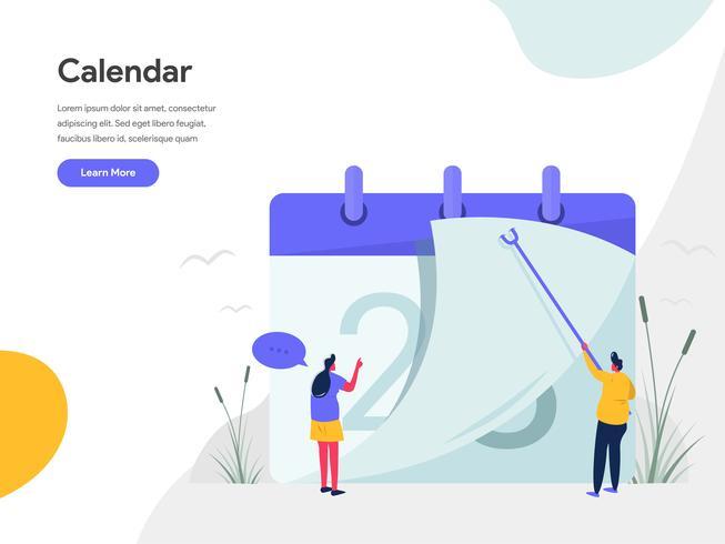 Kalender-Illustrations-Konzept. Modernes flaches Konzept des Entwurfes des Webseitenentwurfs für Website und bewegliche Website Vektorillustration ENV 10 vektor