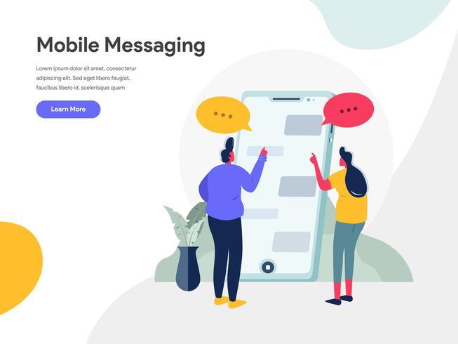 Mobile Messaging Illustration Konzept. Modernes flaches Konzept des Entwurfes des Webseitenentwurfs für Website und bewegliche Website Vektorillustration ENV 10 vektor