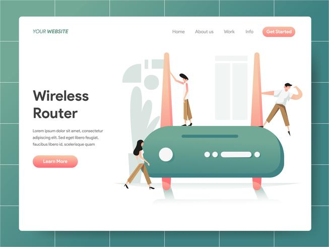 Wireless Router Illustration Concept. Modern designkoncept av webbdesign för webbplats och mobilwebbplats. Vector illustration EPS 10