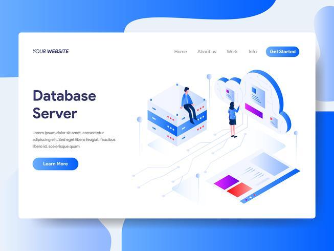 Målsida mall Databas Server Isometric Illustration Concept. Isometrisk plattformkoncept för webbdesign för webbplats och mobilwebbplats. Vektorns illustration vektor