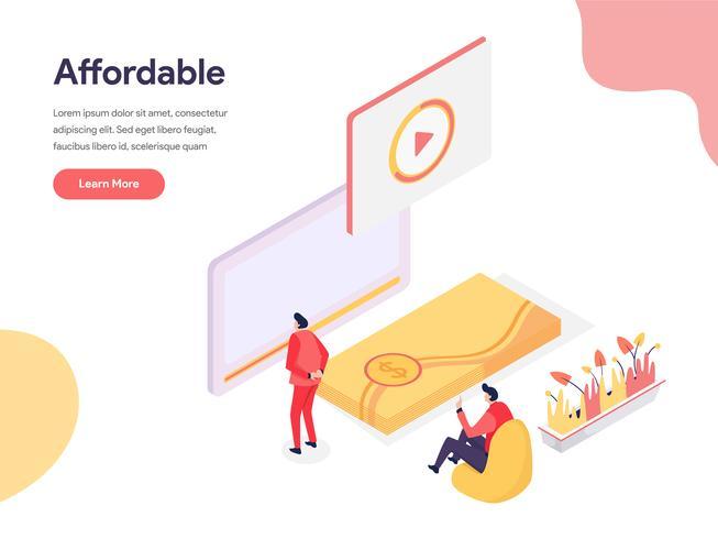 Billig och prisvärd illustrationkoncept. Isometrisk designkoncept för webbdesign för webbplats och mobilwebbplats. Vektorns illustration vektor