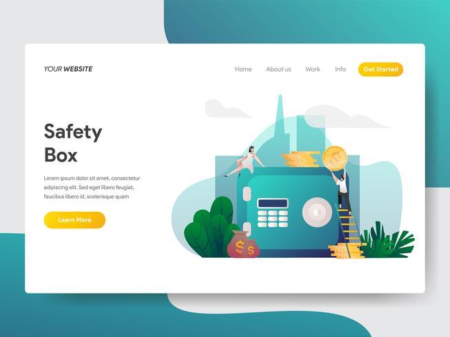 Målsidans mall i Safety Box Illustration Concept. Modernt plattdesignkoncept av webbdesign för webbplats och mobilwebbplats. Vektorns illustration vektor